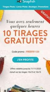 10 tirages photo gratuits (10x15 ou 10x13 cm) & livraison offerte