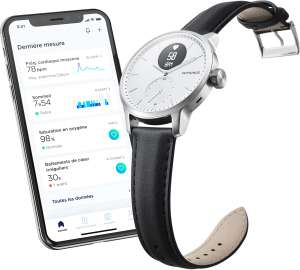 Montre connectée hybride ScanWatch Withings 38mm + Bracelet Premium offert
