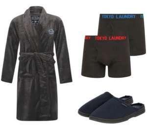 Bundle Tokyo Laundry : 1 peignoir homme (taille M à XL) + lot de 2 boxers + trousse de toilette
