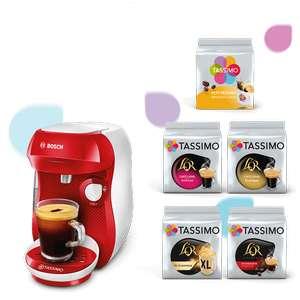Machine à café Bosch Tassimo Happy (Rouge / Blanc) + 5 Paquets de capsules Tassimo