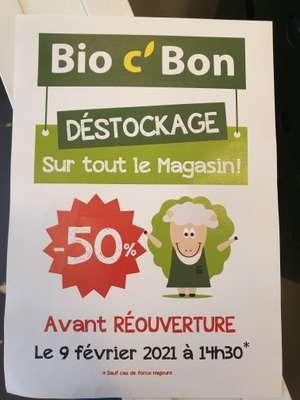 50% de réduction sur tout le magasin (déstockage avant fermeture) - sélection de villes en France