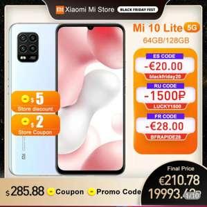 """Smartphone 6,57"""" Xiaomi Mi 10 Lite 5G - 128Go, 6 Go de RAM (231.24€ via BFRAPIDE28 - Entrepôt France)"""