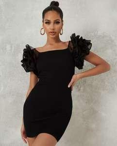 Sélection d'articles en promotion - Ex : Mini-robe noire à manches bouffantes en organza