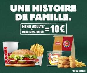 [Mercredi] Menu moyen et King junior à 10€