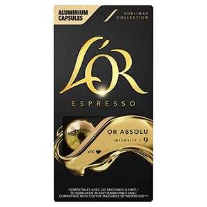 100 Capsules de Café L'Or Espresso - Or Absolu Intensité 9 compatibles Nespresso