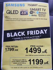 "TV 75"" Samsung QE75Q60T - 4K UHD (via ODR de 300€) - Péronne (80)"