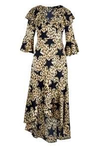 Robe Maxi à ourlet volanté et imprimé léopard et étoile - Taille 36 à 42