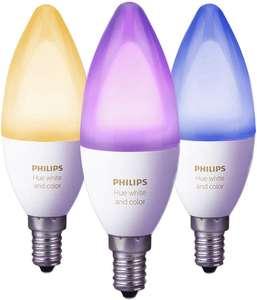 Lot de 3 Ampoules Connectées Philips Hue White & Color Flamme E14