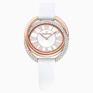 Montre Duo Swarovski - Bracelet en cuir, Blanc, PVD Doré Rose