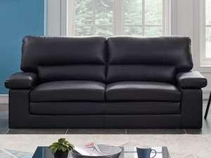 Canapé 3 places en cuir de buffle Mimas - Noir
