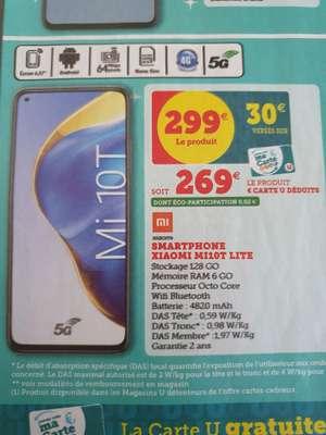 "Smartphone 6,67"" Xiaomi Mi 10T Lite 5G - FHD+, 6Go de RAM, 128 Go (Via 30€ sur Carte Fidélité)"