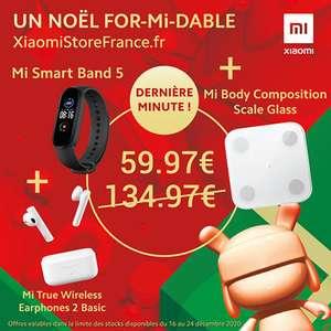 Pack Xiaomi Fitness: Bracelet connecté Mi Band 5 + Balance Mi Body Composition + Ecouteurs Mi Earphones 2 Basic