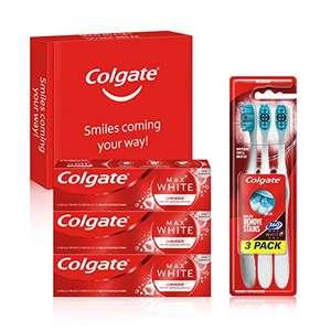 3 Brosses à dents Colgate 360 Max White One + 3 Dentifrices Colgate Max White Luminous 75ml