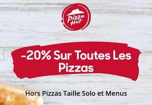20% de réduction sur toutes Les Pizzas (hors Pizzas taille solo et Menus)