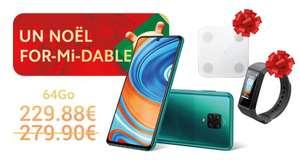 "Pack Smartphone 6,67"" Xiaomi Redmi Note 9 Pro (6 Go RAM, 64 Go) + Bracelet connectée Mi Smartband 4C + Balance Body Composition Scale Glass"
