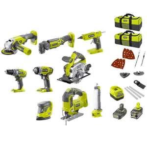 Monster Pack Ryobi V2.0 - 9 machines professionnelles + 2 batteries Li-Ion 4 & 2Ah + chargeur + 2 sacs de transport