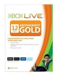 Abonnement de 12 mois au Xbox Live Gold (via retrait magasin)