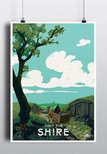 50% de réduction sur tous les posters - Ex : Visit the Shire (32 x 45cm)
