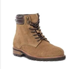 Paire de boots à lacet Texto Cognac en cuir - Tailles 40 à 45