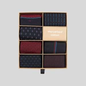 Coffret Noël de 7 paires de chaussettes en coton mercerisé - Bleu Marine, 39/42 ou 43/46