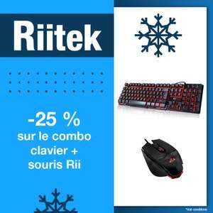 Pack clavier rétro-éclairé Riitek Rii RK100 + souris M01