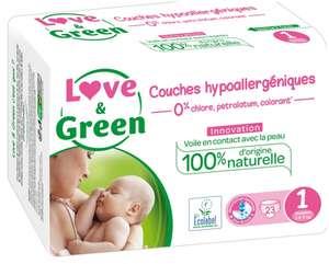 Paquet de 23 couches hypoallergéniques Love & Green - taille 1