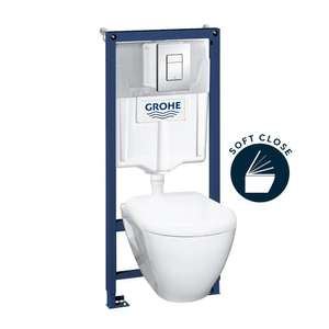 Pack Bâti WC Grohe Solido Perfect Compact - Support Grohe Rapid SL + Cuvette Suspendue Serel Solido + Plaque Grohe Skate Cosmopolitan chrome