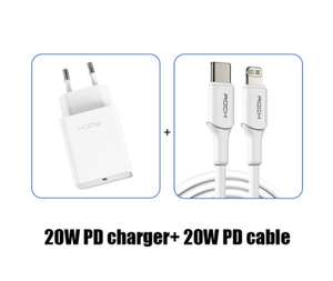 Chargeur rapide Rock avec câble Lightning MFi - PD 20W, QC3.0, USB-C vers Lightning
