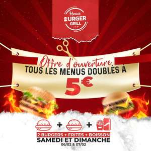 Tous les menus doublés à 5€ - House Burger Grill (Roubaix - 59)