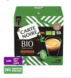 68% de réduction pour l'achat de 2 produits cafés Carte Noire Bio - Ex : Lot 2 boites de 16 capsules Dolce Gusto (Via 2.84€ sur la carte)