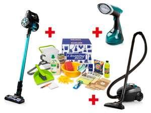 Cleaningbox Hubo: 2 Aspirateurs Domo, un défroisseur + une boite de produits de nettoyage (Frontaliers Belgique)