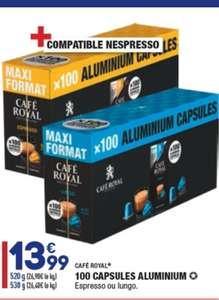 Boîte de 100 capsules de café Café Royal compatibles Nespresso (Expresso ou Lungo)