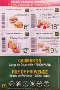 Promotions McDonald's Paris (Caumartin et Rue de Provence)