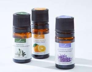 3 huiles essentielles bio (3x 5mL) + 1 diffuseur d'huiles essentielles