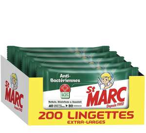Pack de 5 paquets de lingettes désinfectantes St Marc - 200 Lingettes (5x40)