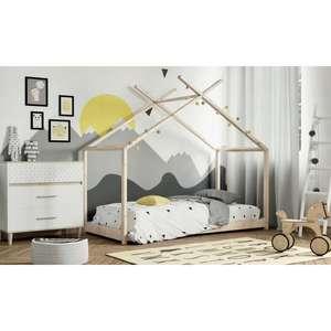 """Lit cabane avec sommier Alias pour Enfant - Blanc ou """"naturel"""", Bois pin massif, 90 x 190 cm"""