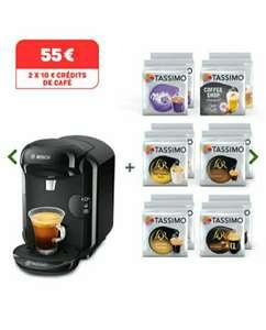 Machine à café Bosch Tassimo Vivy 2 + 12 Paquets de capsules Tdiscs + 2x 10€ de crédits de café