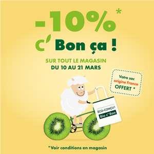 10% de remise sur tout le magasin + un sac éco-conçu en fibres recyclées offert (100% français)
