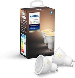 2 Ampoules LED connectées Philips Hue White Ambiance GU10 - Compatible Bluetooth, Fonctionne avec Alexa