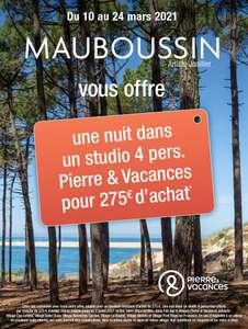 1 Nuit dans un studio Pierre & Vacances pour 4 personnes offerte par tranche de 275€ d'achat