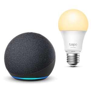 Pack assistant vocal Echo Dot 4ème génération (avec Alexa, anthracite) + ampoule connectée LED E27 TP-Link Tapo