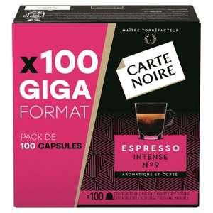 Boîte de 100 capsules de café Carte Noire Nespresso - Espresso intense n°9 ou Lungo Classique n°3