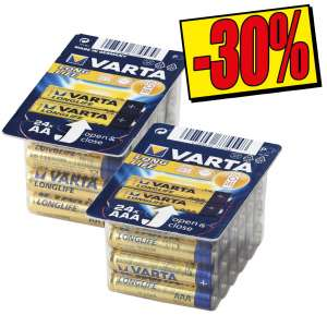 Lot de 24 piles AA ou AAA Varta Long Life