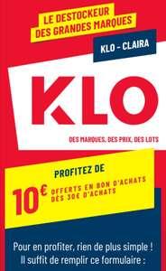 10€ offerts en bon d'achat dès 30€ d'achat (Klo Claira 66)