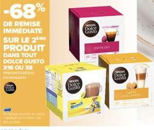 -68% de réduction sur le 2ème produits cafés Dolce Gusto x16 ou x8