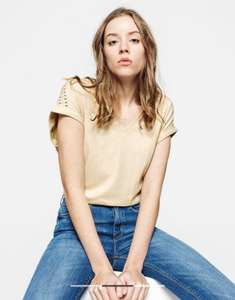 T-shirt femme col V fantaisie - Beige (Taille XS au M)