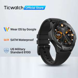 Montre connectée Mobvoi Ticwatch S2 - étanche 5 ATM, Google Wear OS, blanc ou noir