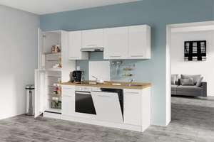 Cuisine équipée prémontée Bianca (2.65m) - avec four Candy + réfrigérateur-congélateur Candy (220L) + lave-vaisselle Candy + hotte + lavabo