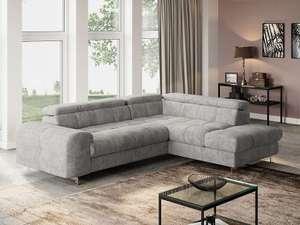 Canapé d'angle droit convertible 4 places Nata - gris clair