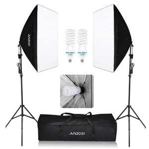 Kit de photographie studio Andoer : 2 Softbox + 2 Trépieds + 2 Ampoules 135W + Sac de transport (Entrepôt EU)